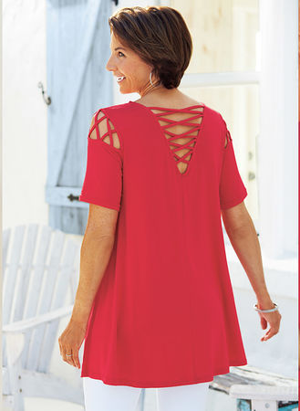 Main Lattice Cold Shoulder Tunic