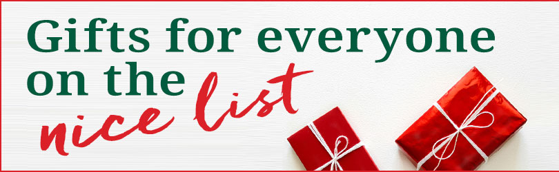 Gifts for Everyone on the Nice List Banner